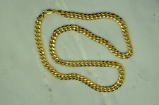 "22"" 10K YELLOW GOLD HOLLOW LINK CURB CHAIN NECKLACE 7.5mm 27.9 GRAMS #A4523"