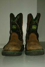 John Deere Camouflage Cowboy Boots Kids' Sz 8.5 Brown Leather