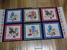 Coffee grinders and pots cotton quilters Fabric Panel 24 x 44 Elizabeth Studios
