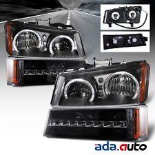 2003-2006 Chevy Silverado/Avalanche [LED Halo] Black Headlights+LED Bumper Lamps