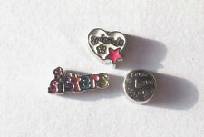 Colorful Sisters Floating Charms-White Friends Heart-Live Love Laugh-3 Charm Set