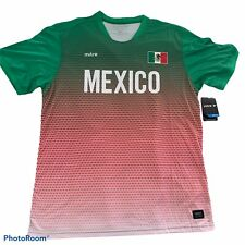 Mexico Soccer Jersey Men's Short Sleeve Shirt New  Mexico's Flag Mitre Red Green