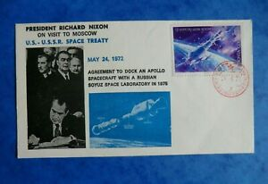 1972 US / USSR Space Treaty Richard Nixon Visit To Moscow CCCP Russia Cover