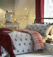 CHRISTMAS WINTER ROBINS TARTAN GREY RED BRUSHED COTTON DOUBLE DUVET COVER