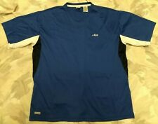 Fila Performa Jersey Athletic T-shirt Men's Sz Large L Blue Black White V-Neck!