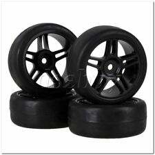 RC1:10 On-road Car Rubber Smooth Tire & Black Plastic Star Wheel Rim Pack of 4