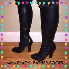 Beautiful bebe Leather Boots Black 8 Med Classic Style $299 MUST SELL!