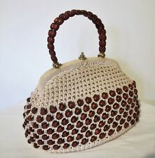BAG Genuine 50s 60s VINTAGE Beige Crochet Brown Wooden Beads Top handle Purse