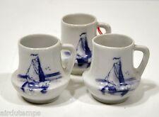 3 petits godets chopes porcelaine décor BATEAU