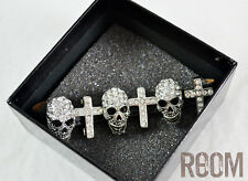 Butler & Wilson Silver Small Skull Cross On Strap Bracelet with box halloween