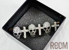 Butler & Wilson Silver Small Skull Cross On Strap Bracelet with box halloween
