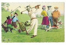 Mainzer postcard Dressed Cats playing golf golfing golfer # 4883 scalloped edges