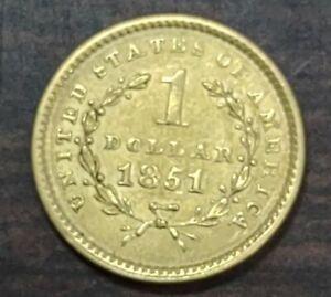 1851 1 dollar gold coin $1.00 Pre Civil War Gold Dollar!!