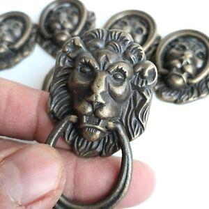 Vintage Brass Lion Head Loop Handles Pulls Antique Old Hardware Drawer Tie 6pcs