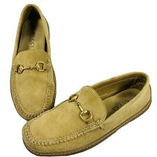 Gucci Women's Brown Suede Gold Horsebit Loafers Moccasins Shoes 1000424 Size 7