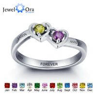 Engrave Birthstone Heart Ring 925 Sterling Silver Classic Promise Rings