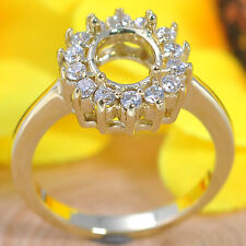Gold Semi Mount Natural Diamond Ring 5x7mm Oval Cut Solid 14kt 585 Yellow