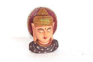 Holz Bemalt Lord Buddha Kopf Neu Handarbeit Geschnitzt Heim Halloween Geschenk