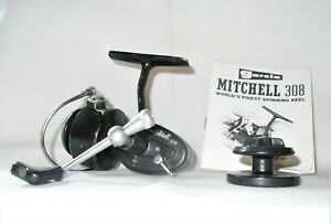 Vintage Garcia Mitchell 308 Spinning Reel with Extra Spool & Book Made in France