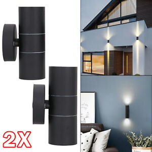 2x Black Stainless Steel Up Down Wall Light GU10 IP54 Double Indoor Outdoor LED