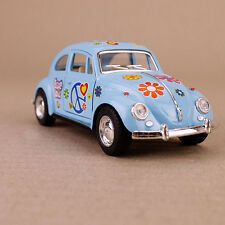 1967 Classic Volkswagen Beetle Diecast 1:32 Scale Pullback Chrome Pastel Blue
