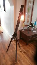Wood Easel Lamp with Edison Bulb - Floor Standing Adjustable Tripod Design