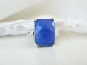 Chuck Clemency Sterling Silver 925 Natural Blue Lapis Large Filigree Ring 6.5