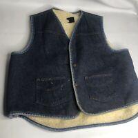 Vintage SEARS ROEBUCKS Denim Trucker Vest Fleece Sherpa Lined Blue XL ~ Great!