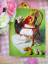 Vintage Knitting Pattern Baby's Slippers & Nightdress Case & Crochet Pram Cover!