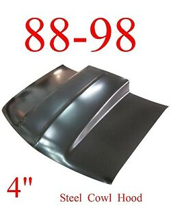 """No Shipping 88 98 Cowl Hood 4"""" Chevy GMC, Truck, Steel Bolt On, KeyPart 0852-038"""