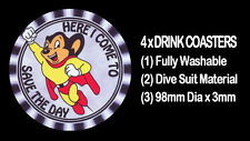 4  x  MIGHTY MOUSE COMIC & CARTOON CHARACTER SUPER HERO  - DRINK COASTERS