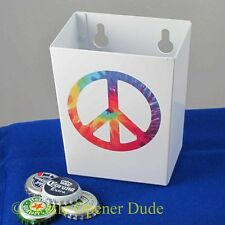 Small White PEACE SIGN Metal Cap Catcher for Wall Mount Bottle Openers STARR New