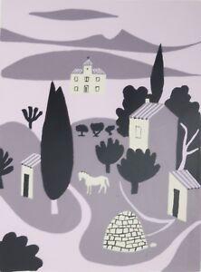 JEAN HUGO-French Modernist-Hand Signed LIM.ED Serigraph-Horse & Landscape