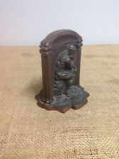 Pair of Bronze-Tone CAST IRON BOOK ENDS Nude Thinking Man THE THINKER Signed
