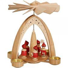 Weihnachtspyramide Teelichtpyramide - natur mit Kurrende - rot Höhe 28 cm NEU