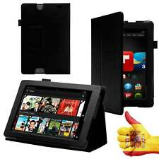 """Leather Smart Case for Amazon Kindle Fire HD 7"""" Tablet Black Cover"""
