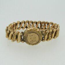 Vintage Gold Tone Round Sweetheart Expandable Bracelet