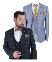 Men's Hardy Paradise Navy Sky Blue Windowpane Check Peaky Blinders Retro Suit