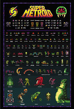 Super Metroid - Retro Super Nintendo SNES Style Poster Samus Ridley Mother Brain