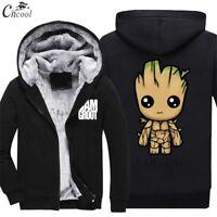 Warm Thicken Guardians Of Galaxy Groot Hoodie Jacket Cosplay Sweater fleece coat