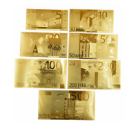 7PCS Gold Dollar Bill Full Set Gold Banknote Euro 5/10/20/50/100/200/500