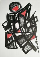 SEVARD Abstrakte Komposition Gemälde Zeichnung A4 Original Signiert Unikat N520