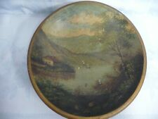 """VINTAGE/ANTIQUE FRENCH COUNTRY WOOD BOWL w/HAND PAINTED SCENIC, 13-1/4"""""""