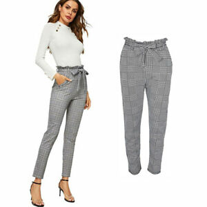 Womens Check Hound Tooth Paper Bag Cigarette Trouser Ladies High Tie Waist Pants