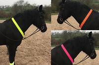 Hi Vis Horse Neck Strap Reflective Safety Hacking One Size Yellow Orange or Pink