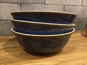 Denby Imperial blue cereal bowls x 3