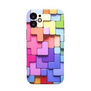 "Pellicola+Custodia cover per Apple iPhone 12 Mini 5.4"" COLORFUL blocchi colorati"