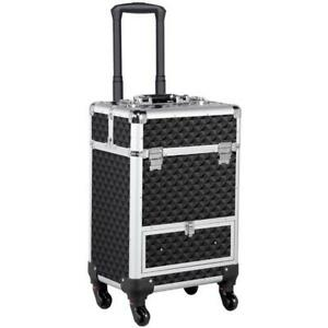 Professional Makeup Artist Travel Rolling Organizer Case W/ Drawer Large Trolley