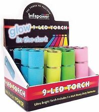 Infapower Glow in The Dark 9 LED Torch 3 X AAA Batteries Included