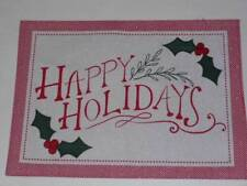 Christmas Placemat Happy Holidays  Holly Berries Giitter Accents Red/Ivory  NEW